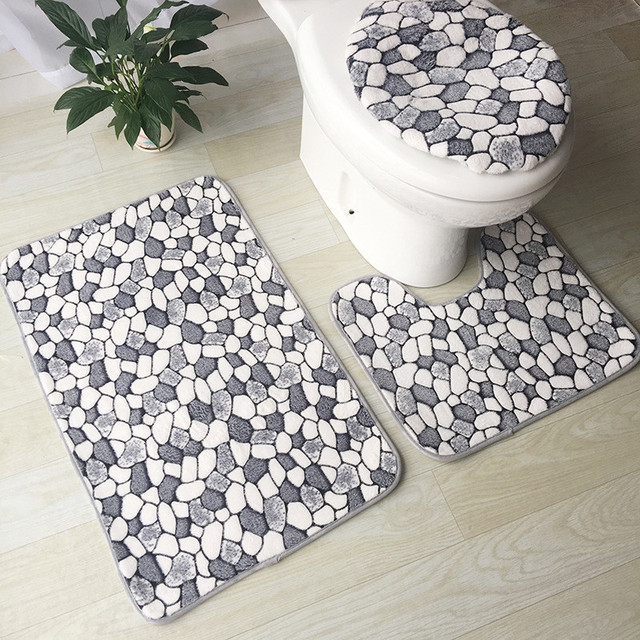 3pcs Bath Mats Washable Bathroom Toilet Rugs Mat Rug For Washing Room Set