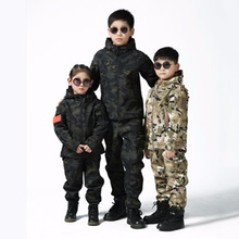 Upgraded Kids Outdoor Camo Soft Shell Clothes CS Fishing Hunting Child