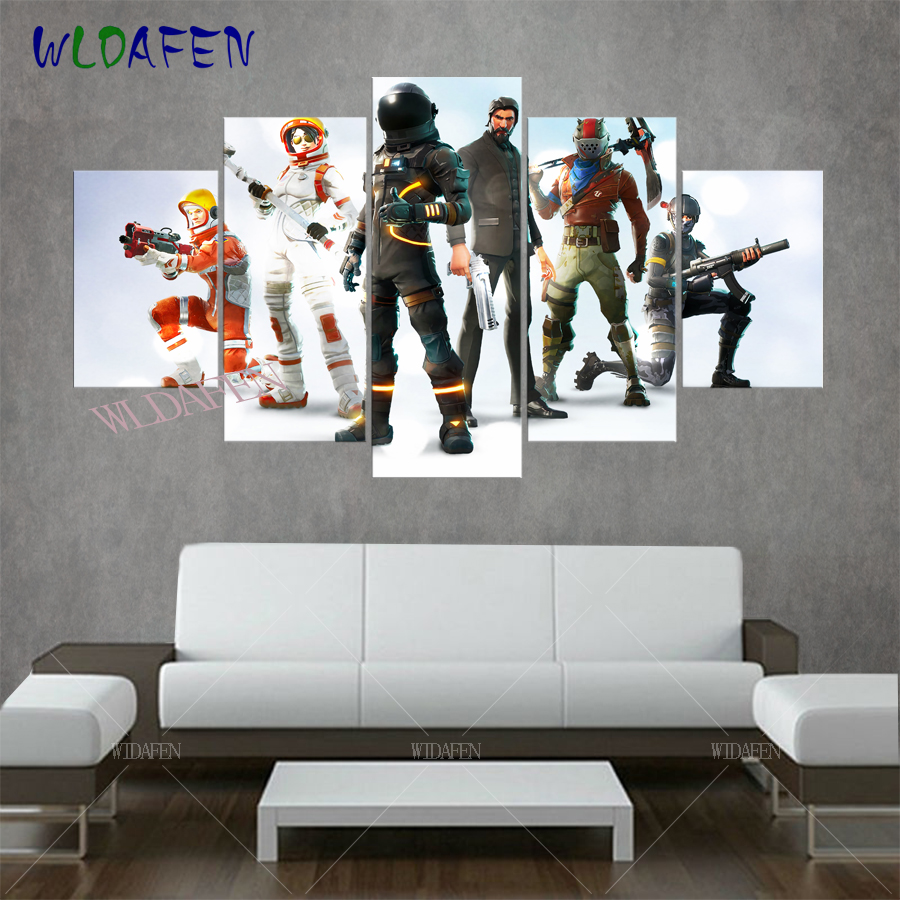 fortnite game anime poster 5 pieces canvas art printed pictures for living wall art home decor. Black Bedroom Furniture Sets. Home Design Ideas