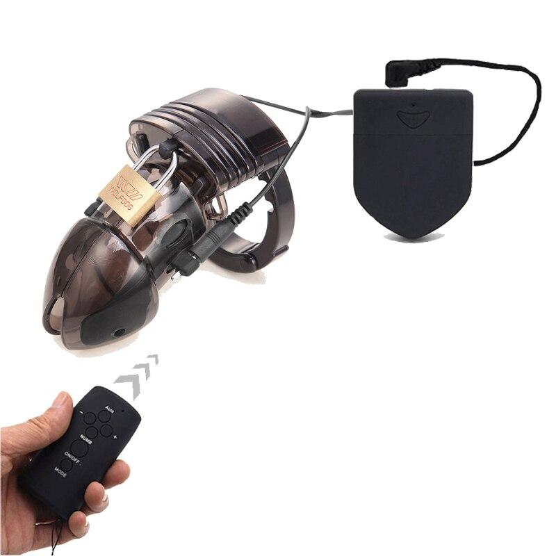 CB6000 Dispositivo de Castidad jaula en la Polla para hombre remoto Control Electro Shock anillo para pene juguetes sexuales eléctrico anillo cinturón de castidad.