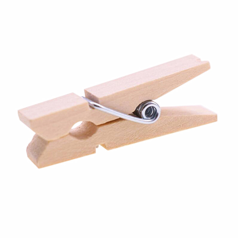 20 Pcs Wholesale Very Small Mine Size 35 * 9mm Mini Natural Wooden Clips For Photo Clips Clothespin Craft Decoration Clips Pegs