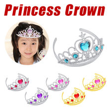 Girl Queen Princess Crown Crystal Tiara Halloween Cosplay Holiday Party Gifts For Kids Gift(China)