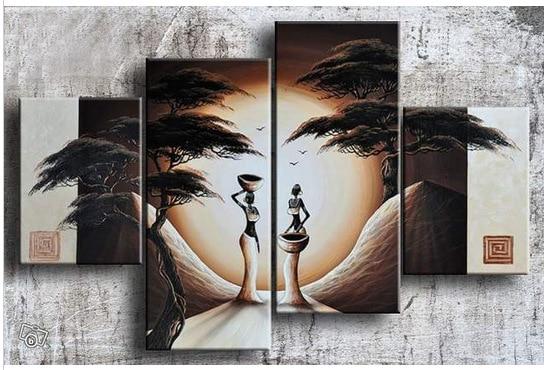 4 pezzi astratta Africana Americian donne figura nella foresta pittura a olio di paesaggio 100% handmade su tela di canapa