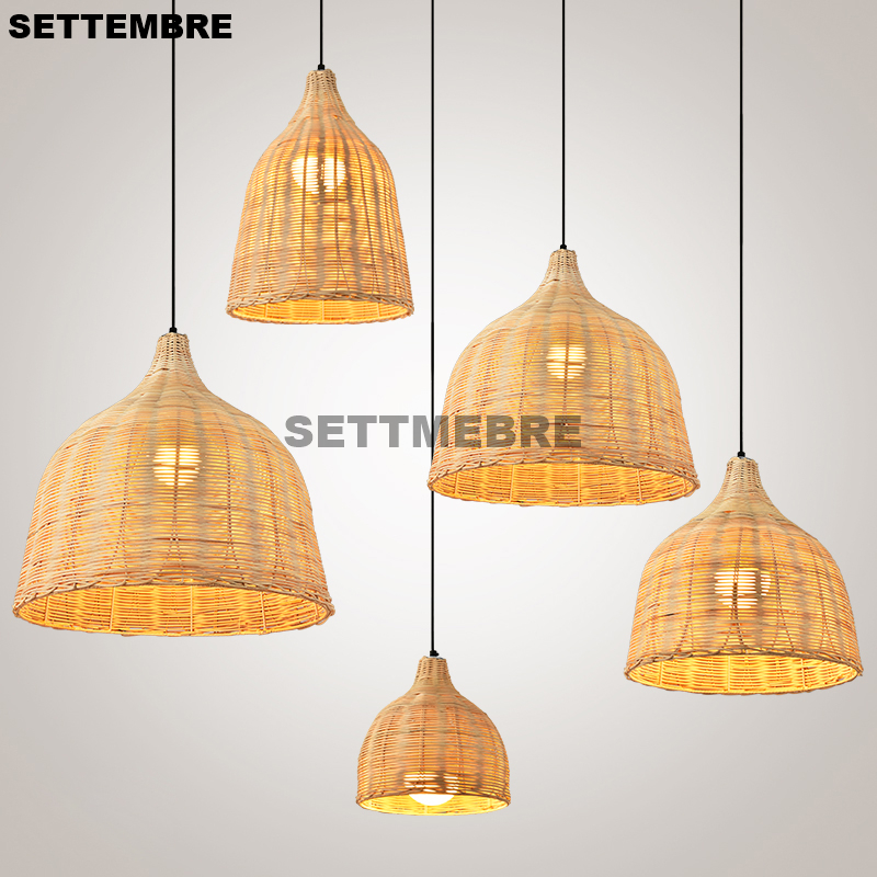 Country Style Handmade Rattan Pendant Lights Tea House Restaurant Dinning Room Loft Modern Hanging Lamps