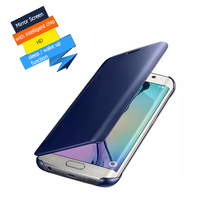 Clear View Cover For Samsung GALAXY S6 Edge S6 Case Mirror Screen Flip Leather Capa Para