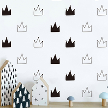 Green cartoon wallpaper black and white crown pattern bedroom personality simple  A10-009