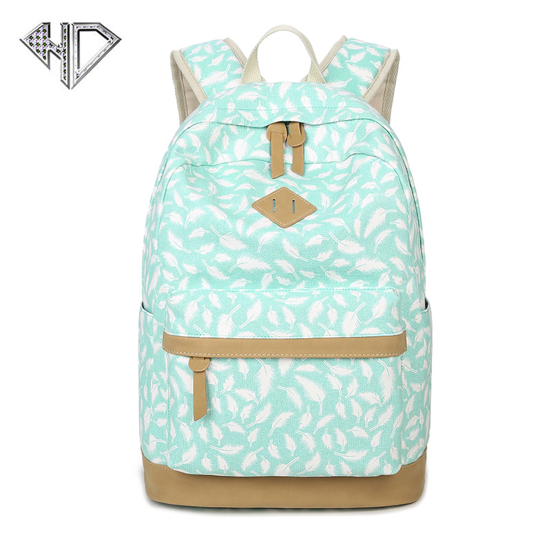 Brand Women Lovely Leaf Backpack Printing Canvas Backpacks School bag For Teenagers Ladies Casual Cute Rucksack Bookbags Mochila children school bag minecraft cartoon backpack pupils printing school bags hot game backpacks for boys and girls mochila escolar