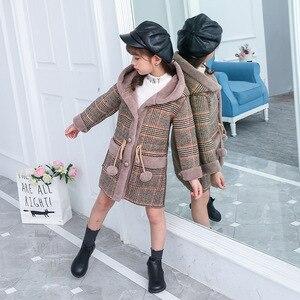Image 4 - ファッション女の子のためのウォームジャケット冬の格子縞のフード付きコートパーカー上着子供女の子厚いオーバーヘビー級 4 14Y 子供