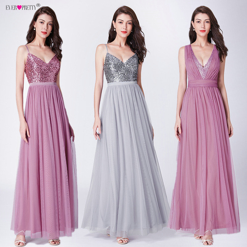 Ever Pretty   Bridesmaid     Dresses   Long Sequined Tulle Deep V-Neck vestido de festa longo Sexy   Dress   For Wedding Party For Woman