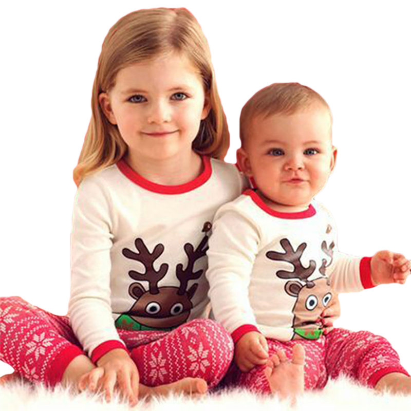 Cute Newborn Baby Girls Christmas Elk 2pc Suit Infants Baby Children clothes girls T Shirt Pants X-mas Wear Pajamas Sleep Wear