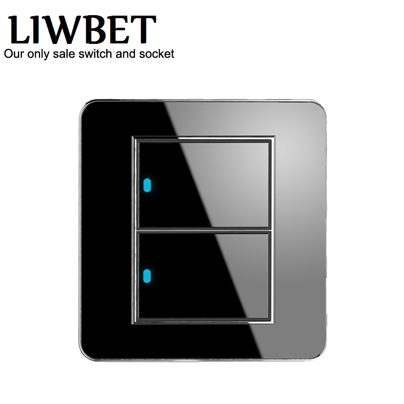 Hot Sale Manufacturer Push Button Random Click 16A LED Indicator Luxury Wall Light 2 Gang 2 Way Switch hot sale manufacturer wallpad push button random click 16a led indicator luxury wall light 2 gang 2 way switch