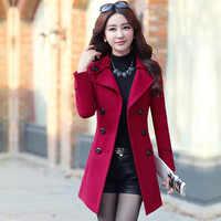 Korean Coat Fashion Woolen Overcoat Women Slim With Belt Meidum Long Casual 2019 New Spring Autumn Coats Femme Casaco