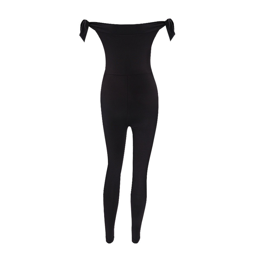 BKLD Full Length Off The Shoulder Jumpsuit Women Black Sexy Slash Neck Casual Romper Bandage Jumpsuit Female Slim Waist Overalls