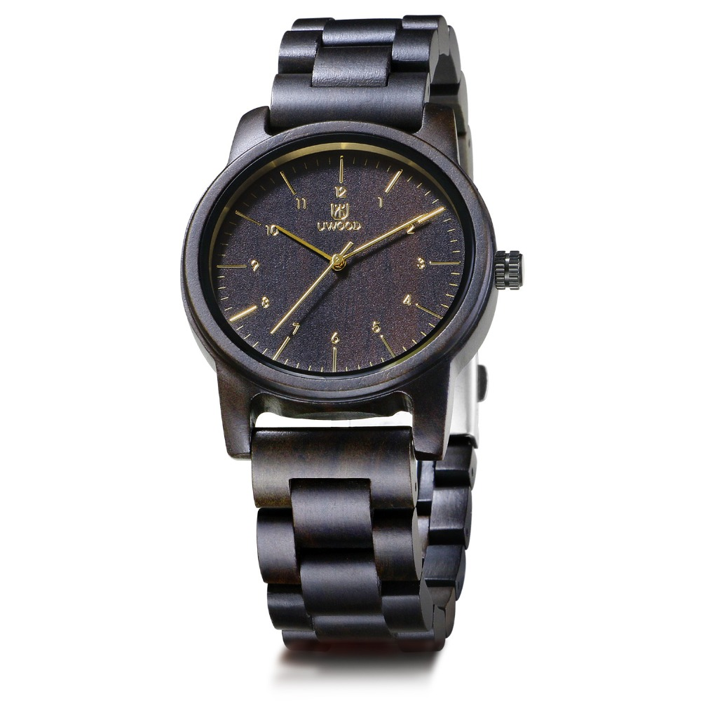 Montre en bois pour hommes 100% à la main en bois de santal noir naturel montre-bracelet à Quartz Design luxe décontracté montres en bois pour hommes et femmes