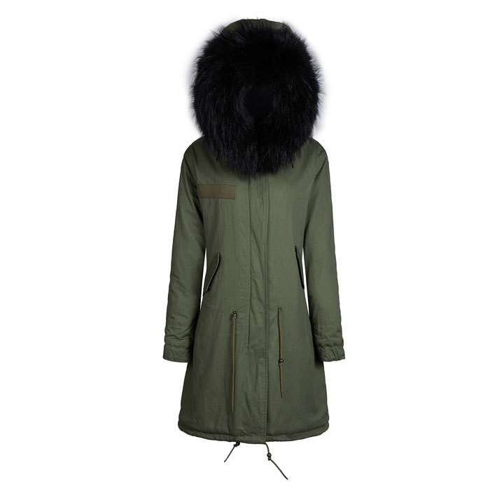 Casual design winter men black fur collar coat long hooded jacket black fur parka,military jacket women