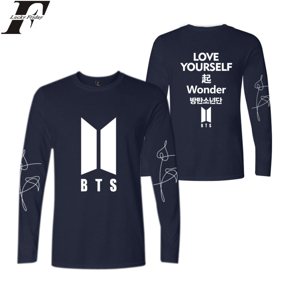 LUCKYFRIDAYF 2018 LOVE YOURSELF Wonder Kpop Spring Long Sleeve T-Shirt Men/Women Spring T-Shirts Cotton Casual Style Plus Size