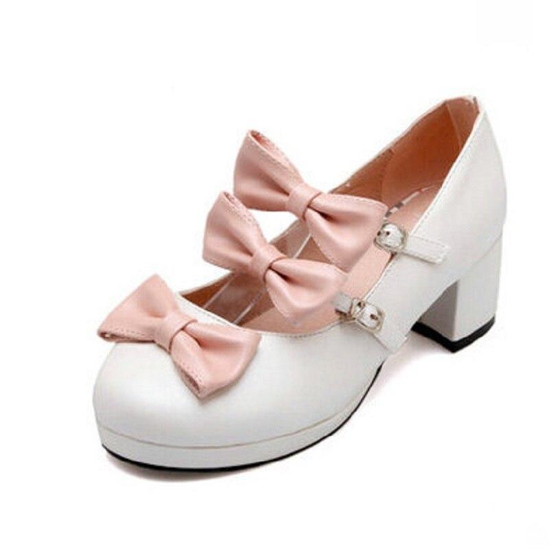 white Talon Sangle Blanc Mary 26 Filles Princesse Chaussures Rose Taille Bowknot Femmes Doux La 62 Black pink purple Cheville Plus Mi Lolita Pompes Femme ~ Janes 8OXNnPwk0Z