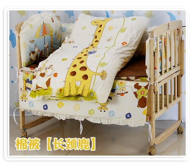 Promotion! 6PCS Bear Baby bedding set Animal bear crib bedding set 100% cotton baby bedclothes (3bumper+matress+pillow+duvet) promotion 6pcs bear bedding set 100