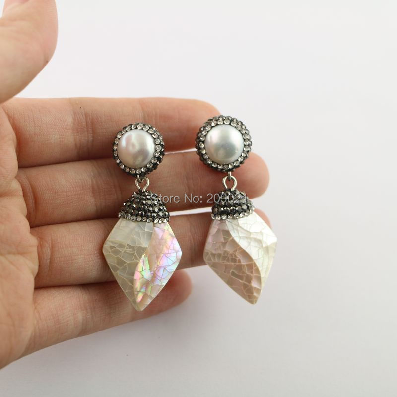 Simple style 4pair Pearl with Shell Pave Rhinestone Dangle Earrings Charms Jewelry Finding For Women