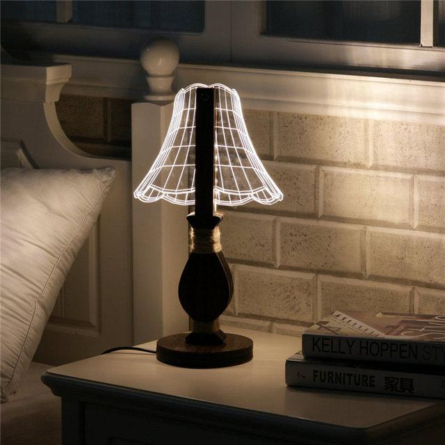 3D 12 LEVOU Noite Luz lâmpada de Mesa Lâmpada de Mesa De Leitura Acrílico Interruptor de luz 0.5 W Dimmable Presentes Novos Casa de Cabeceira Quarto Decor 100-240 V