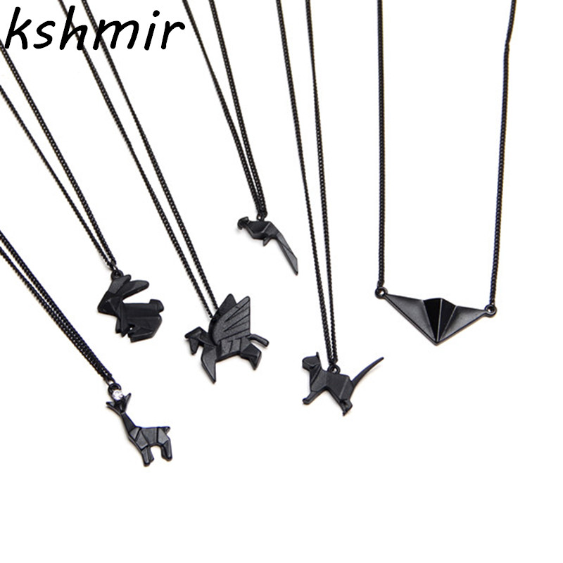 Original design extremely brief origami animal model diablo joker European and American wind metal collar bone chain necklace