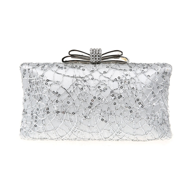 2016 Noble Silver Chinese Women's Wedding Evening Bag Clutch handbag Mujeres Bolso Stylish Bride Party Purse Makeup Bag 4017B