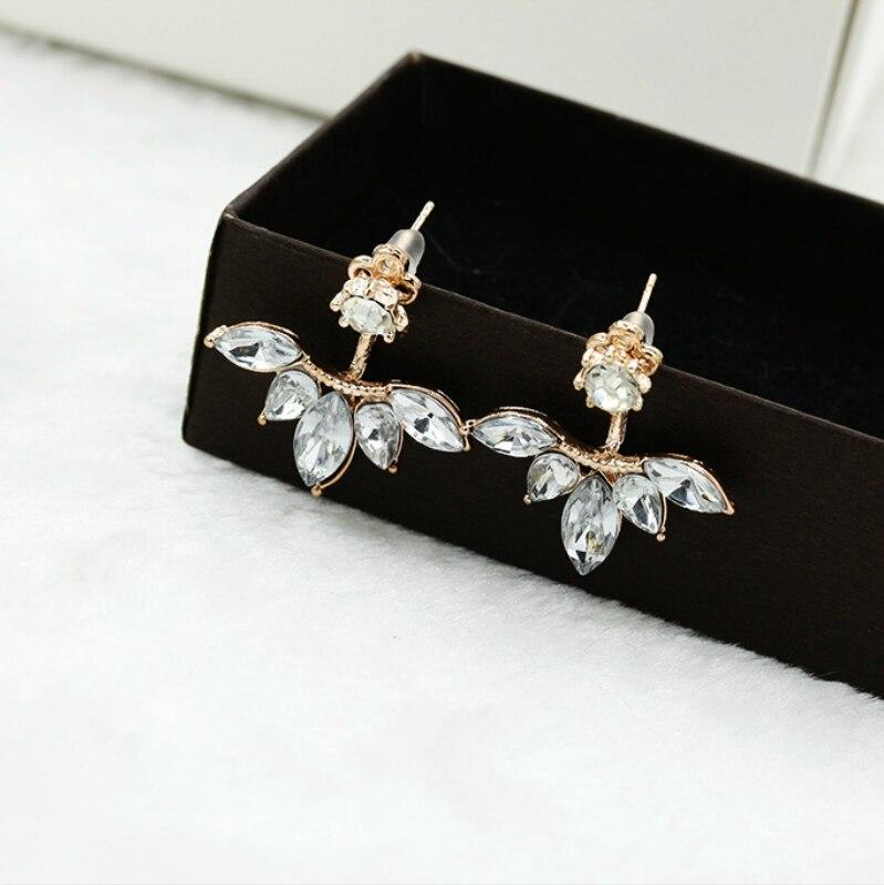 New Earings Fashion Jewelry Zircon Crystal Ear Cuff Clip Leaf Stud Earrings For Women Piercing Earrings Wholesale