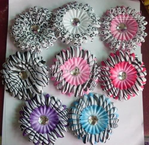 4 дюйма Леопард Зебра Кристалл Цветы Детские Волосы повязка банты клип Гербера украшение 300 шт