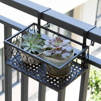 European balcony flower stand Iron railing multi layer hanging flower pot rack wall hanging green radish meat rack