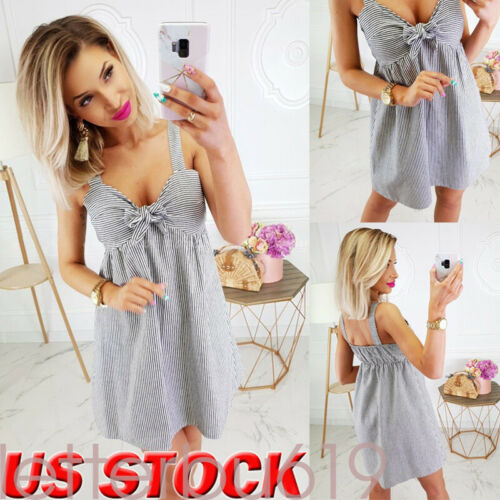 New Women Holiday Beach Sleeveless Striped print Boho Casual Party Sun Mini Dress Sundress