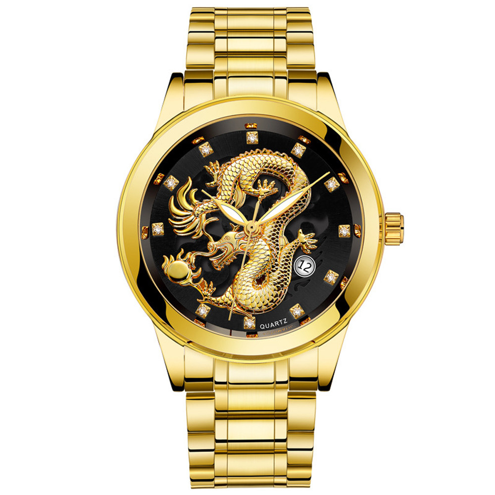 OTOKY luxury fashion waterproof luminous men gold dragon sculpture quartz watch luxury men steel watch leather sports quality