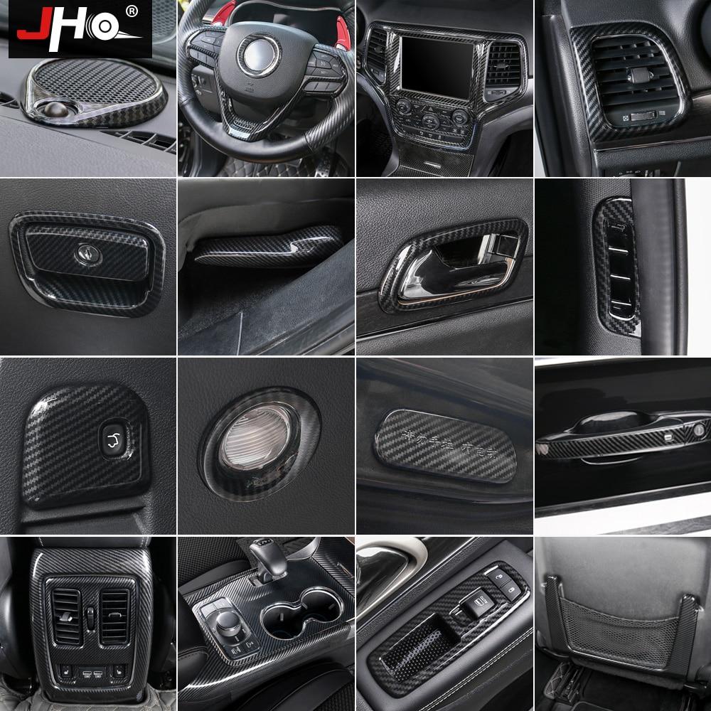 JHO ABS Carbon Fiber Grain Cover Trim For 2014-2018 Jeep Grand Cherokee 2015 2016 17 Door Handle Steering Wheel Car Accessories