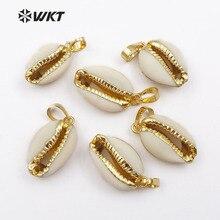 WT P547 WKT Sıcak Satış Moda Kolye Doğal Tiny Cowrie Kabuk Altın Trim Ile Kolye için Özel Hediye Kolye Kolye