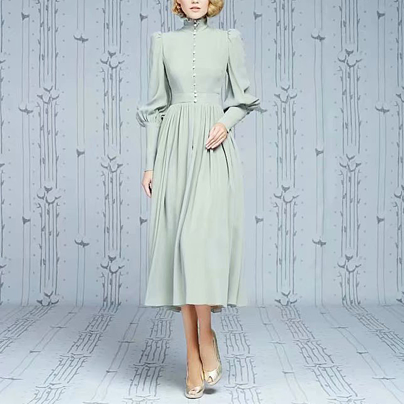 XF Kate princesse avec le même paragraphe vert rétro robe automne mode robe de soirée de haute qualité Midi avant robe boutonnée