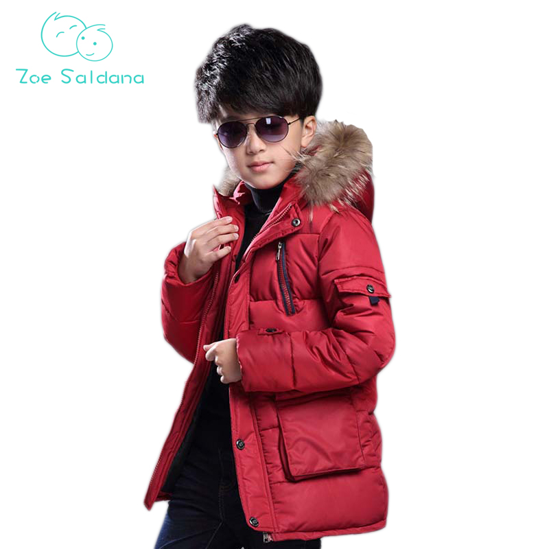 Zoe Saldana Boy's Warm Coat 2017 New Fashion Children Clothing Winter Solid Fur Hooded Thick Long Outerwear Casual Zipper Coats zoe saldana girl s coat 2017 new fashion winter solid hooded long white duck down casual kids warm detachable fur collar coats