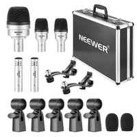 Neewer 5 Piece Dynamic Drum Microphone Kit - Kick Bass,Tom/Snare and Cymbals Microphone Set for Drums, Vocal and Other Instrume