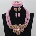 Lovely Baby Pink Fashion Girls/Lovers' Gift Jewelry Set for Birthday Party Engagment Indian Costume Jewelry Free Shipping WD207