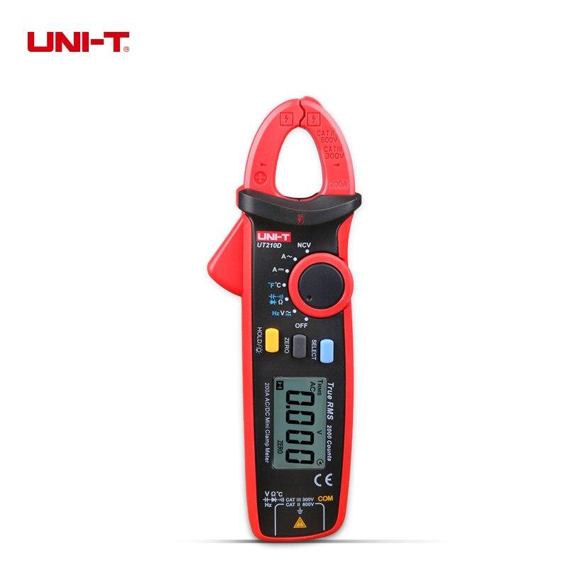 UNI-T UT210D Clamp Meter Auto Gamma Digitale Capacità Multimetro AC/DC Voltmetro Amperometro Resistance Misurazione della Temperatura