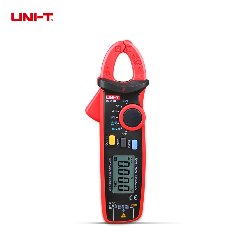 UNI-T ut210d цифровой клещи Авто Диапазон емкость мультиметр AC/DC Вольтметр Амперметр Сопротивление Температура измерения