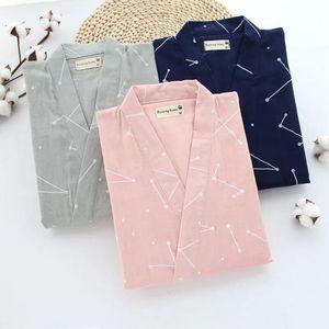 Image 2 - Gạc Cotton Nhật Bản Đồ Ngủ Cổ Chữ V Kimono Pijama Nam Nữ Pijamas Cặp Đôi Xuân Hè Phòng Chờ may Áo Quần Dài Bộ