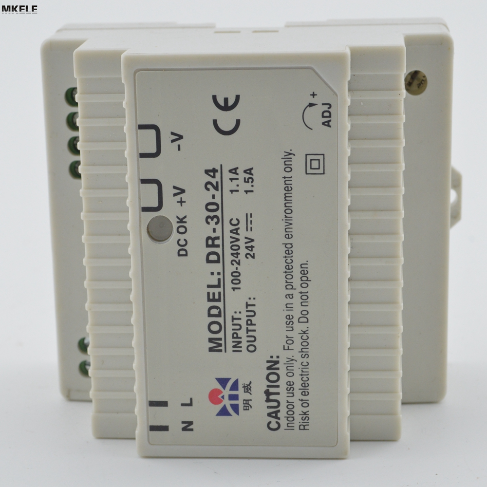 Hot Sale 30w 24v 1.5a DR Series Din Rail Switching Power Source Supply Single Output DR-30-24 With CE Certified hot sale 12 volt switching power source supply rainproof 12v 15 200w fy 201 12 16 5a single output china