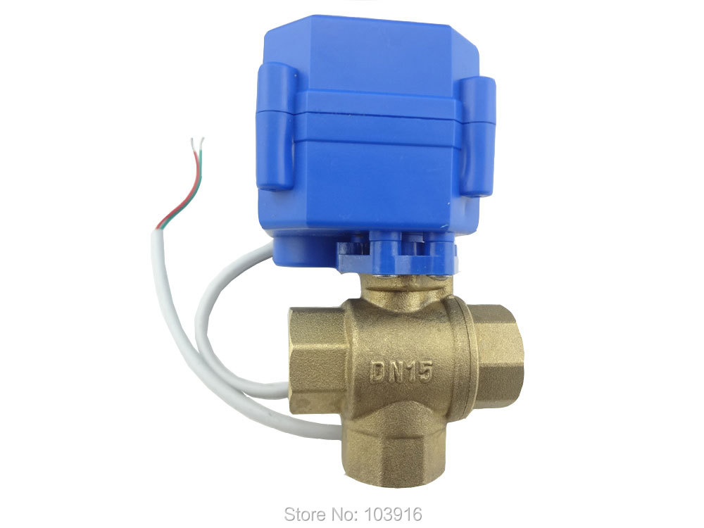 Free shipping 3 way DN15(reduce port) motorized ball valve , electric ball valve( T Port ), motorized valve, MS-3-15-12V-T-R01-1 red t knob 19mm x 19mm slip ends full port ppr ball valve