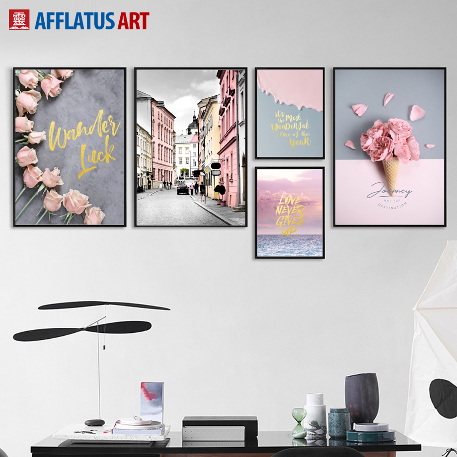 AFFLATUS Nordic Poster Flower Street Landscape Wall Art Canvas Painting Posters And Prints Wall Pictures For Living Room Decor
