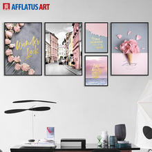 AFFLATUS Nordic Poster Flower Street Landscape Wall Art Canvas Painting Posters And Prints Pictures For Living Room Decor