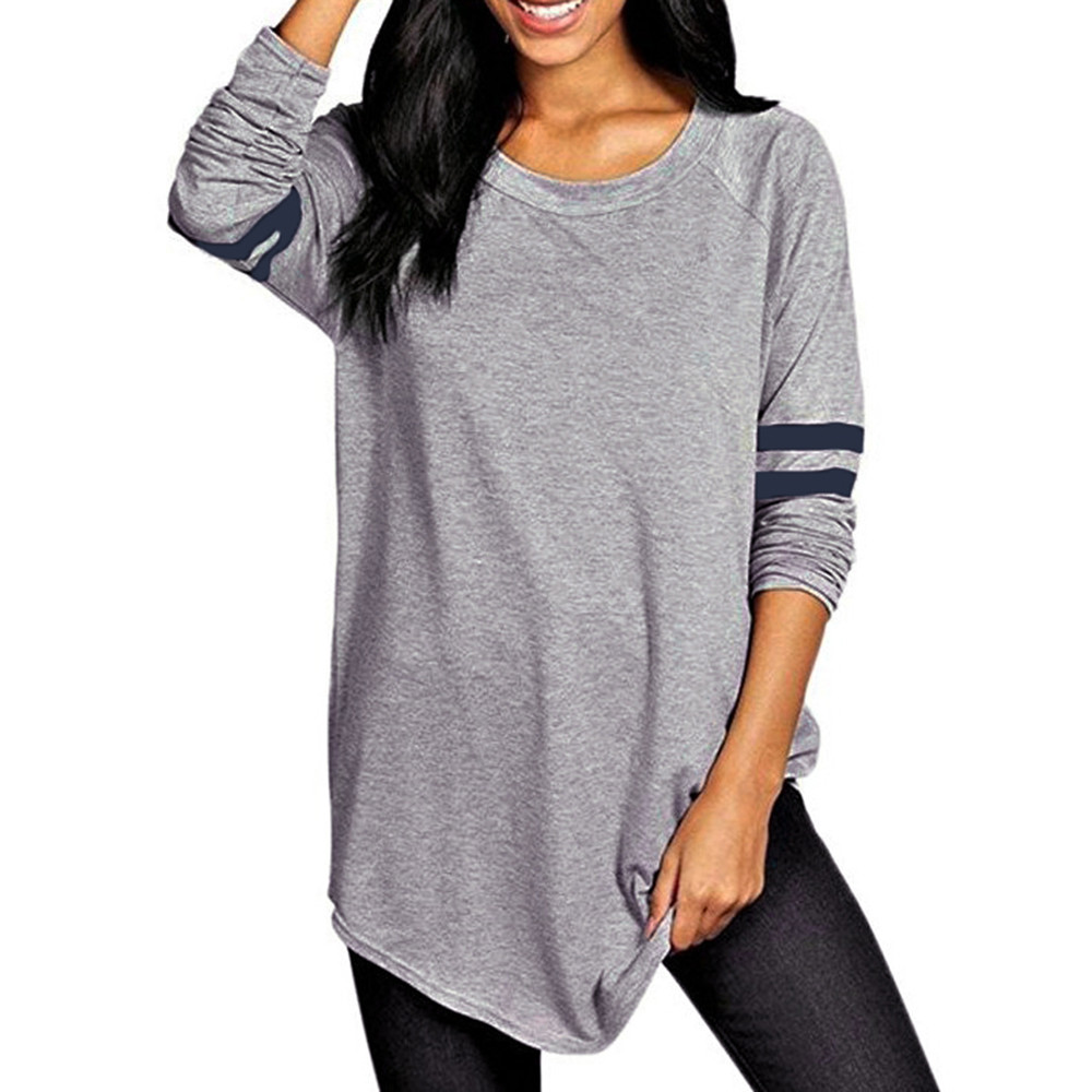FREE OSTRICH Autumn Women Striped Shirt Splicing T-Shirt Long Sleeve O Neck 2019 Casual Top Basic Tee T Shirt Plus Size C2935