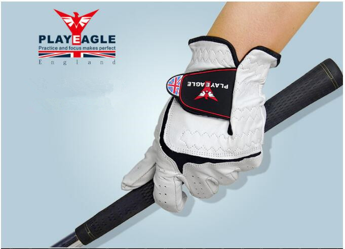 PLAYEAGLE Mens Genuine Leather Golf Glove Breathable Non-slip wear-resistant sheepskin Left Hand Golf Sports Gloves 5pcs/lot