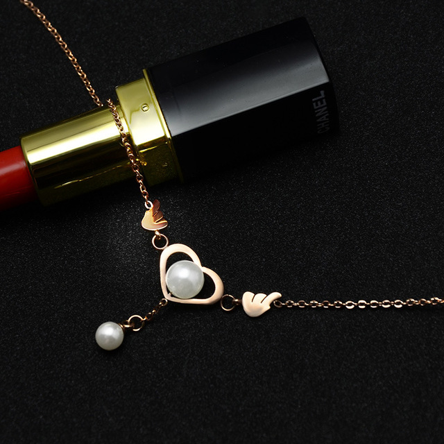 316L stainless steel rose gold tassel pearl love wings foot chain