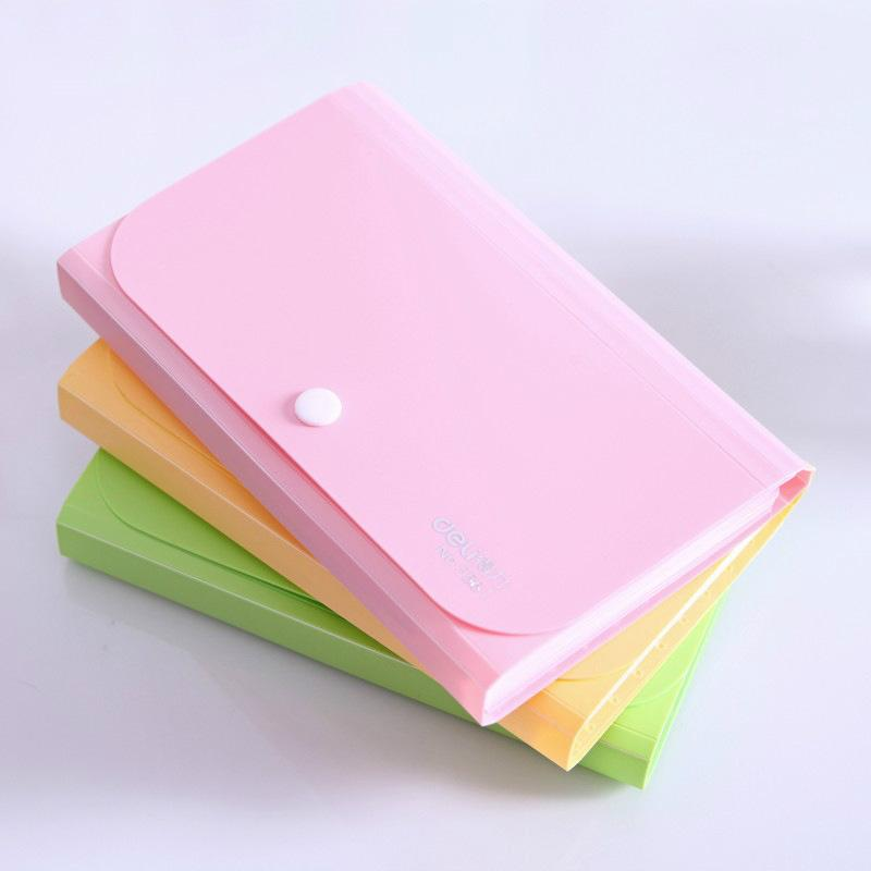 Candy-Colored A6 Mini Presentation Folder Bag Document Paper Bill Clip Storage Organ Bag Students School Office Storage Supplies