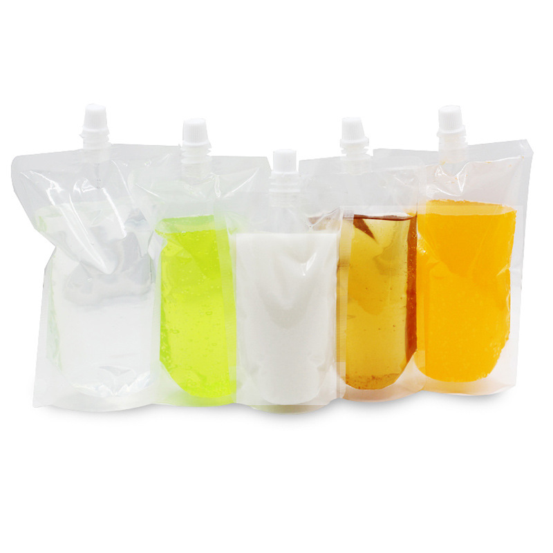 1000Pcs Lot Jelly Clear Poly PE Doypack Storage Bag Juice Milk Liquid Empty Stand Up Plastic