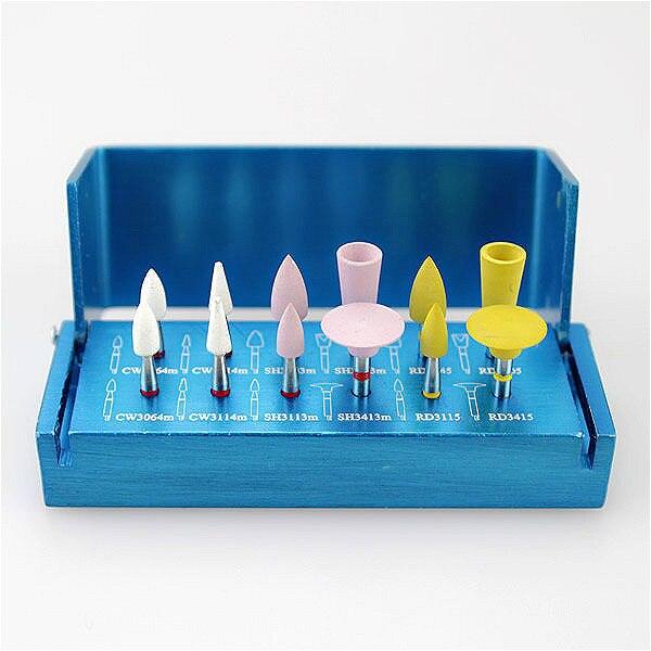 12pcs Dental Oral Porcelain Teeth Polishers Polishing Buffing Burs-Latch Type+1 Aluminium Alloy RA Burs Block Kit RA2112 30pcs dental diamond high speed burs drills for porcelain teeth 1 holder block